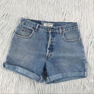 VINTAGE High Waist Light Wash Denim Shorts